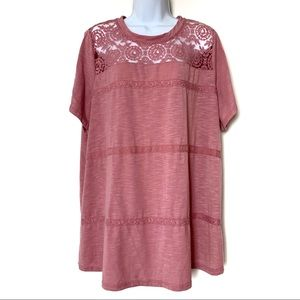 Lane Bryant Embroidered Stripe T Shirt Top 22/24